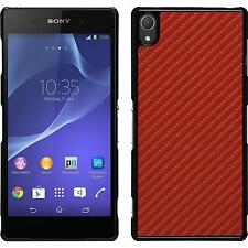 Hardcase for Sony Xperia Z3 carbon optics red Cover + protective foils