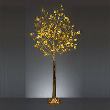 5FT 1.5M MAINS INDOOR OUTDOOR CHRISTMAS XMAS GOLD LEAF TREE LED LIGHT DECORATION