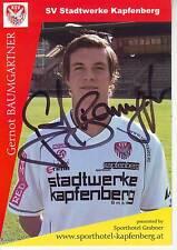FOOTBALL carte joueur GERNOT BAUMGARTNER équipe SV STADTWERKE KAPFENBERG signée