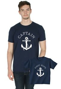 Captain / First Mate Matching T-Shirt Baby-grow Set Dad Father and Son Romper