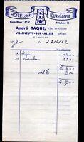 """VILLENEUVE-sur-ALLIER (03) HOTEL DE LA TOUR D'ARGENT """"André RAQUE Proprio"""" 1962"""