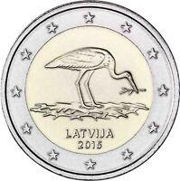 Lettland 2 Euro Schwarzstorch 2015 bankfrisch Gedenkmünze Schutzprogramm