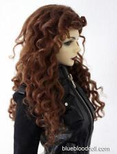 "1/3 bjd 8-9"" doll head brown real mohair wig dollfie luts iplehouse 28002"