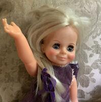 "Vintage 1970s Ideal Crissy Family Sleep Eyes Hair Grows Blonde Doll As Is. 15.5"""