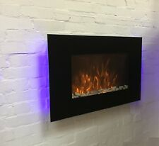 Galleon Fires - Phoenix Wall Mounted Electric Fire Black Flat Glass Large 90cm