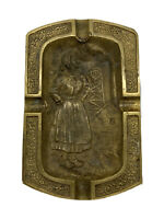 Collectible Vintage Bronze France Brass Woman Ashtray 1945 Coal Tower WW2