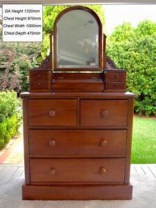 True Vintage Retro Cedar Dresser, swivel mirror, carved details excellent cond'n