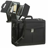Alassio Pilotenkoffer Aktenkoffer (Rocca) schwarz mit Schultergurt