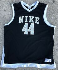 Nike Basketball Jersey V Neck Mesh Satin Trim 44 Black Mens Size Xl