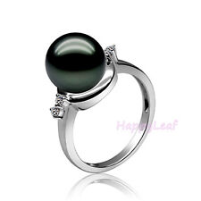 Lily Treacy 10-11mm Tahitian black Pearl Diamond 14K white gold ring sz 7