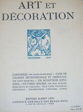ART et DECORATION ART NOUVEAU 1927 LABOUREUR TAPIS EUROPE et ORIENTALE V. MACHO