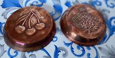 More details for 2 x vintage copper pie dishes cherries decorative 6 1/2