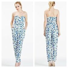 Darling @ Kaleidoscope Size 16 Blue Floral Strapless JUMPSUIT Wedding Party £88
