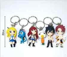 6PCS Anime Fairy Tail  Natsu Happy Lucy Gray Erza Plue Figure Keychain Keyring