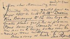 compositeur Emile Pessard lettre autographe signée sur carte loge