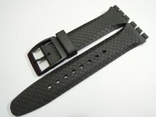 19MM HIGH QUALITY BLACK RUBBER STRAP FITS SWATCH CHRONO SPORTS WATCHES