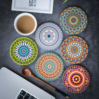 Coasters Ceramic Round Mandala Flower Printed Non-Slip Insulated Cup Mat UK.