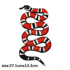 Rhinestones Beaded large coral Snake  Embroidered Applique DIY Sew On Patch