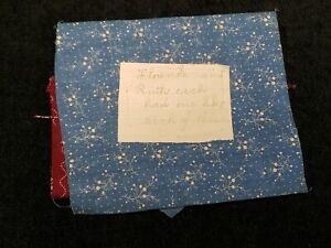 BEST Vintage Cotton Quilt Fabric Scraps c1890s w Provenance Calico Blue Claret
