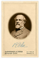 ROBERT E. LEE PHOTO & SIGNATURE Civil War Vintage Cabinet Card CDV RP