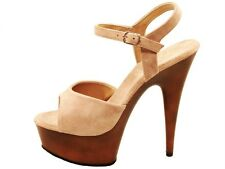 PLEASER SHOES DELIGHT 609 FW TAN TAUPE HIGH HEEL WOOD LOOK PLATFORM SANDALS