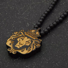 Wood Lion Crown King Carved Pendant Necklace Retro Beaded Sweater Chain Jewelry