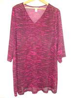 Catherines Burgundy Cerise Design Tunic Top 3/4 Sleeve Open Knit Plus 1X 18/20W