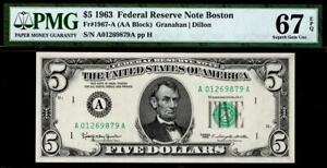 1963 $5 Boston Federal Reserve Note FRN • PMG 67 EPQ • Fr.1967-A TOP POP