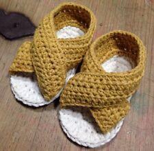 Patucos Bebe Recién Nacido 0/3 Meses Algodón Nuevo Sandalias Crochet Mostaza