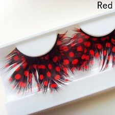 Newest Colors Women Feather False Eyelashes Peacock Charm Makeup Party Club Hot
