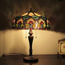 Tiffany Style Table Lamp Stained Glass Vintage Handmade Nightstand Office Desk