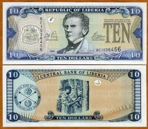 Liberia / Africa, 10 dollars, 2003, P-27a, UNC