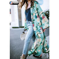 Women Long Maxi Cardigan Kimono Casual Shawl Open Front Trench Coat Jacket LIU9