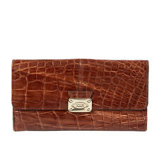 40815 auth TOD'S media brown CROCODILE leather Clutch Wallet