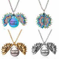 Fashion Women Gold Silver Boho Sunflower Locket Necklace Pendent Wedding Gift