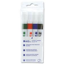Drywipe Whiteboard Marker Flip Chart Pens Bullet Tip 4 Assorted Colours