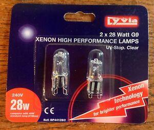 XENON HIGH PERFORMANCE TWIN PACK BULBS 28W 42W 18W CLEAR G9 BULBS X 2 LYVIA