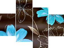 "20"" X 40""+ Long 4 Panel Wall Art Canvas Pictures Abstract Teal Flowers Prints"