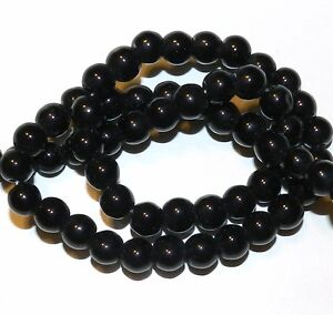 """G2540 Black Obsidian Shiny Opaque 8mm Round Glass Beads 15"""""""