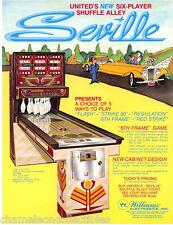 SEVILLE By UNITED 1976 ORIGINAL NOS SHUFFLE ALLEY SALES FLYER BROCHURE