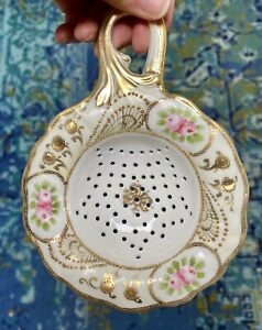 Porcelain Hand Painted Teapot Strainer Pink Roses Ornate Patterned Gold Design