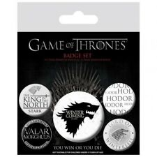 Game of Thrones Winter Is Coming 5 Badge Set Film Button Pin Direwolf Hodor