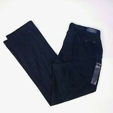 POLO Ralph Lauren Mens Pants 38Tx36 Classic Fit Black Flat Front $98 NEW