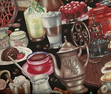 I Love Coffee black pots kitchen Elizabeth Studio fabric