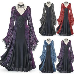 Damenmode Vintage Mittelalter Maxikleid Keine Halskette Party Kleid Fashing 3XL