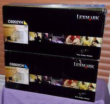 Set Of 2 Genuine Lexmark C9202CH Cyan, C9202YH Yellow Toner Cartridge-New Sealed