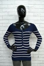 Maglione Blu Donna ABERCROMBIE & FITCH Taglia M Pullover a Righe Sweater Woman