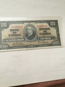 1937 $100 Canadian Banknote Bill