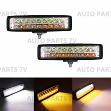 2x 6 inch White Amber Dual Color LED Work Light Bar Flood Spot Car Truck SUV Fog
