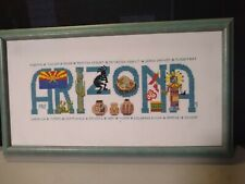 New listing Vtg Embroidered Cross Stitch Framed Finished Sampler Arizona W/ History Pictures